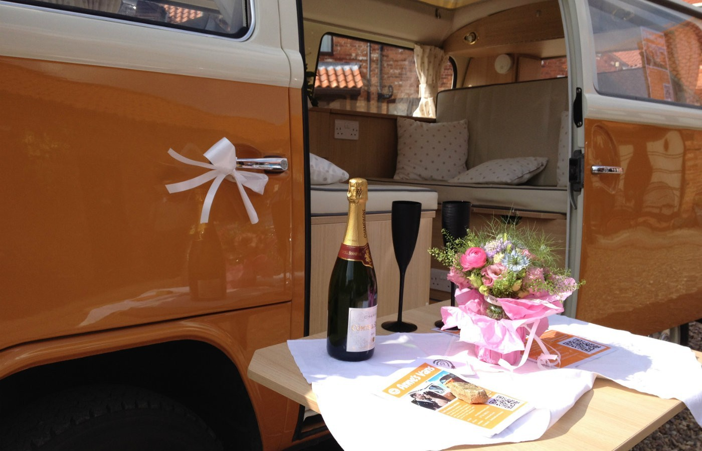 champagne flowers vw campervan