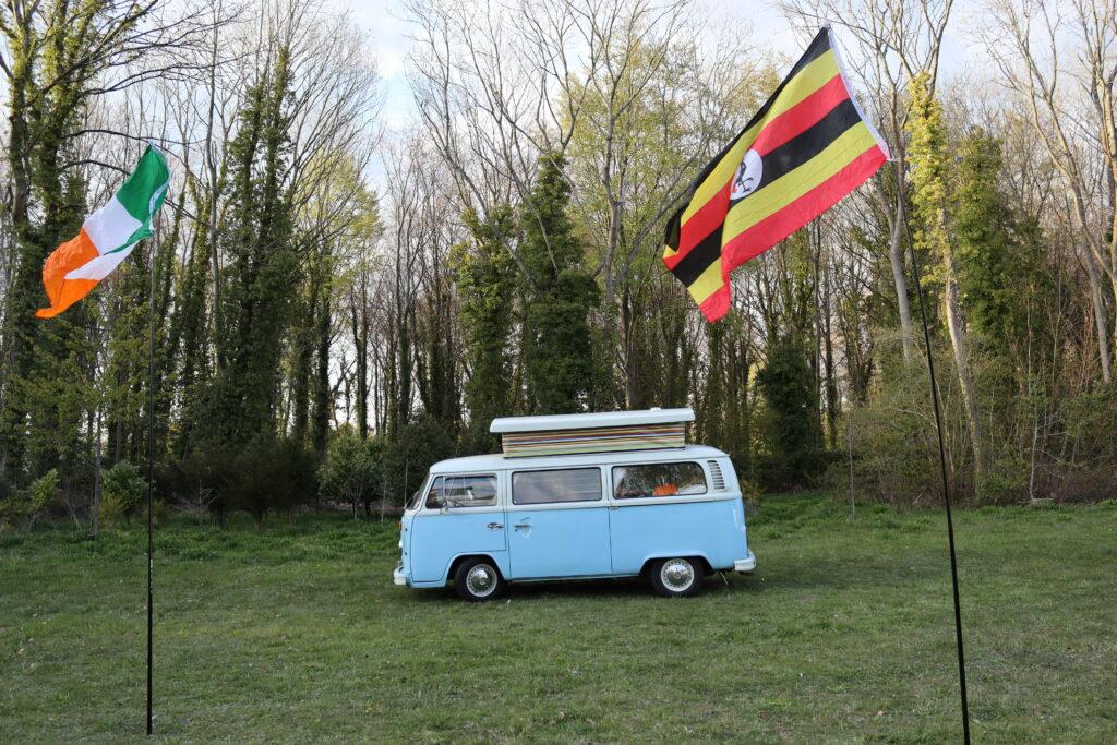campervan Bertie with Irish and Ugandan flags