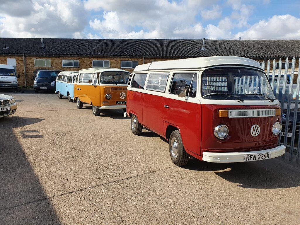 Campervans in convoy