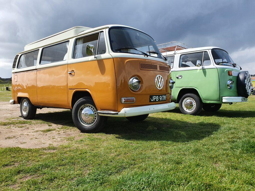 two vw campervans meet in cromer