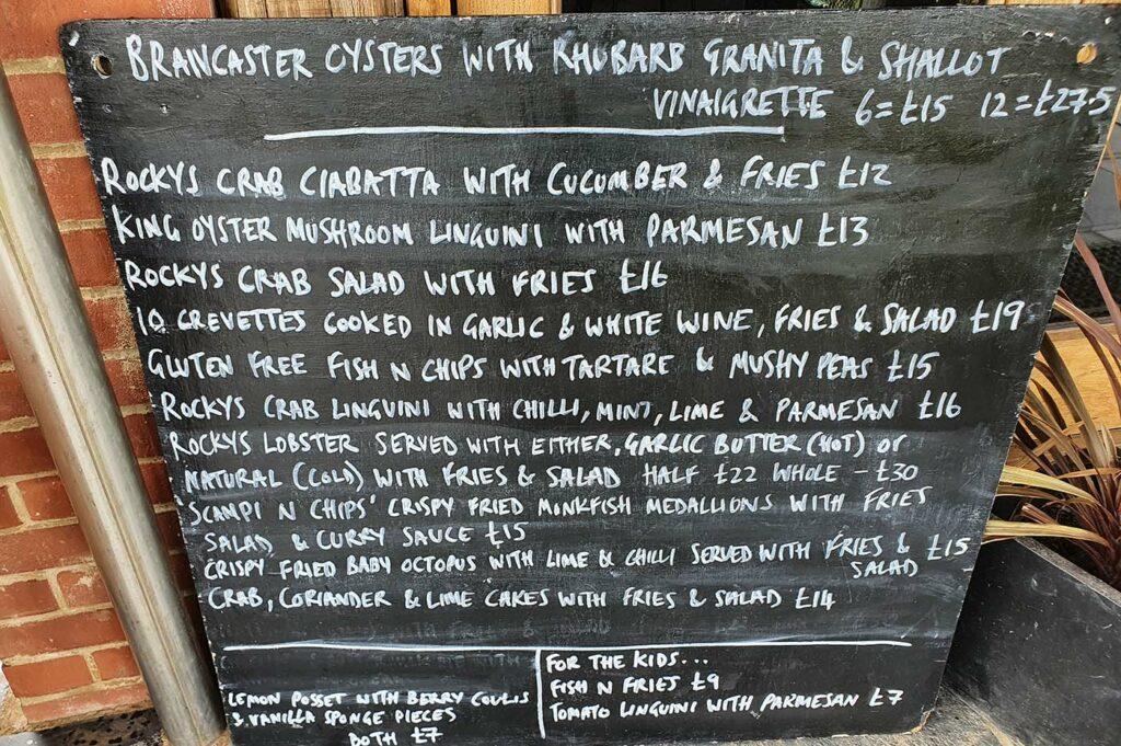 menu rocky bottoms