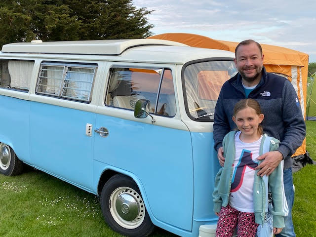 Shaun Brown with his lovely daughter in front of Bertie in Mablethorpe