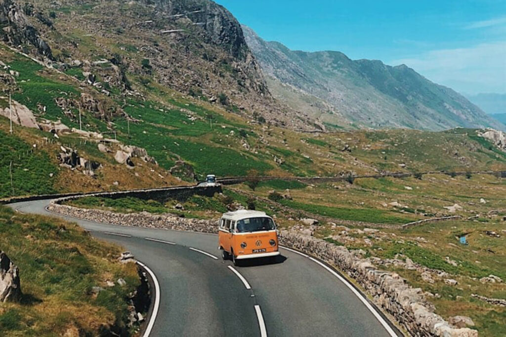VW campervan Betty climbs to the top of the Llanberis Pass