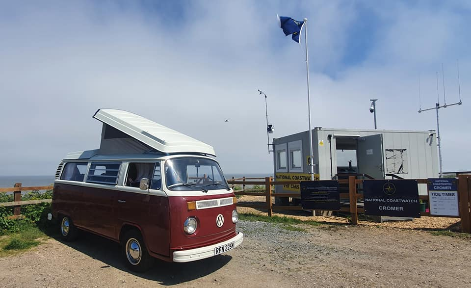 Ruby parked outside Cromer beach