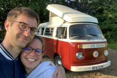 vw campervan with couple