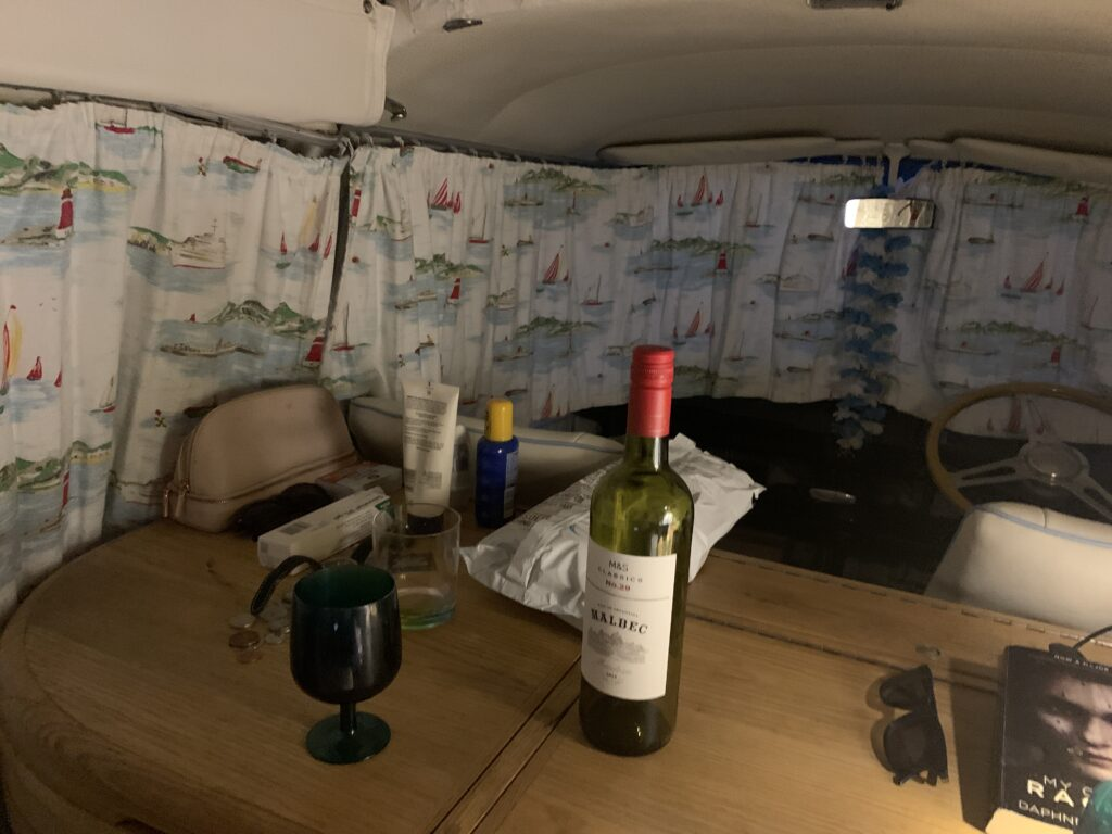 Inside our cosy campervan Bertie